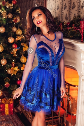 ROCHIE BABY-DOLL CATIFEA ALBASTRA SI BRODERIE RN 508