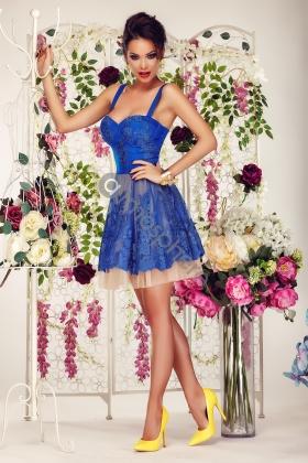 Rochie scurta baby-doll dantela albastra si tul bej Rn 600