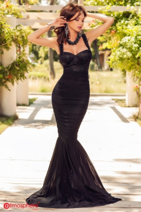Rochie lunga sirena tul negru si broderie bust Rn 342