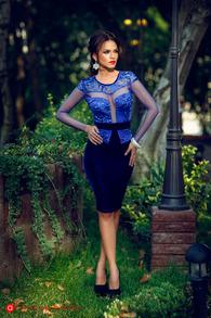 Rn 13 rochie trei sferturi catifea albastra