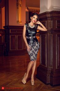 Rn 21 rochie trei sferturi piele ecologica si dantela