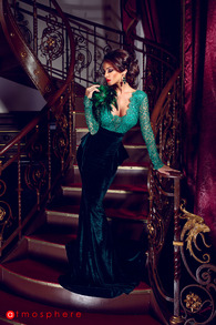 Rn 11 rochie lunga catifea si pene