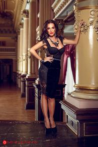 Rn 35 rochie trei sferturi catifea neagra