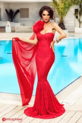 Rochie lunga rosie din dantela sirena cu pene  Rn 295