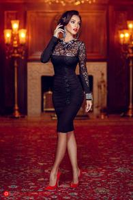 Rn 3 rochie dantela si lycra neagra