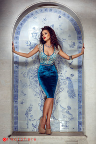 Rn 20 rochie catifea turquoise