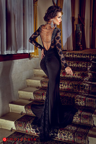 Rn 47 rochie lunga cu margele la spate