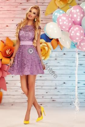 Rochie baby-doll dantela brodata lila Rn 630