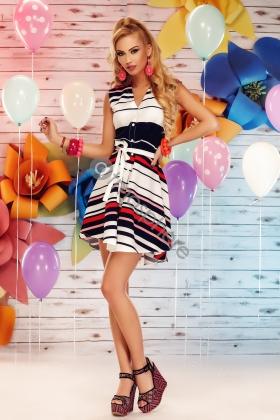 Rochie casual cu nasturi imprimeu colorat si cordon Rn 620