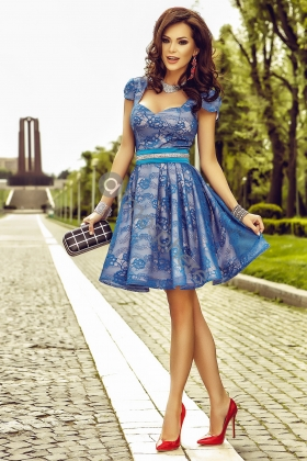 Rochie baby-doll dantela albastra Rn 659