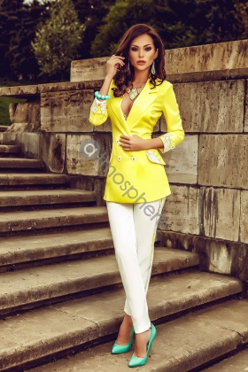 Sacou elegant galben cu imprimeu floral S 970
