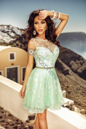 ROCHIE BABY-DOLL TUL MINT CU BRODERIE COLORATA RN 680