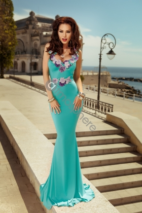 ROCHIE LUNGA LYCRA TURQUOISE CU BRODERIE FLORI RN 709