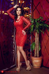 Rn 66 rochie scurta cu paiete rosii