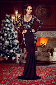 Rn 59 rochie lunga dantela neagra