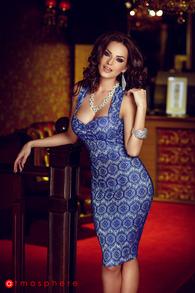 Rn 54 rochie trei sferturi dantela albastra