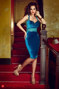 Rn 58 rochie trei sferturi catifea turquoise