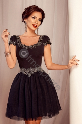 ROCHIE BABY-DOLL NEAGRA CU BRODERIE FLORALA AURIE RN 916