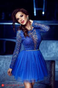Rn 111 rochie scurta dantela albastra