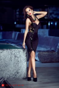 Rn 56 rochie trei sferturi dantela cu paiete