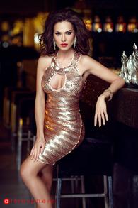 Rn 110 rochie scurta din paiete aurii