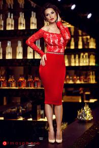 Rn 112 rochie trei sferturi catifea rosie