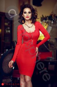 Rn 127 rochie trei sferturi rosie lycra