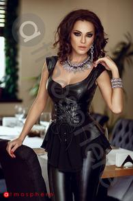 CR 861 corset din piele cu voal