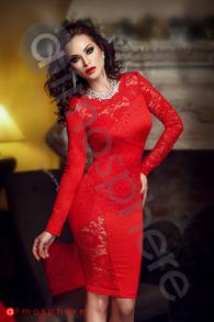 Rn 99 rochie rosie dantela si lycra