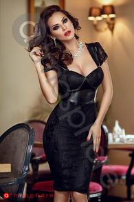 Rn 93 rochie trei sferturi dantela si piele ecologica