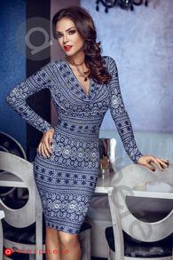 Rn 136 rochie scurta lycra imprimeu albastru