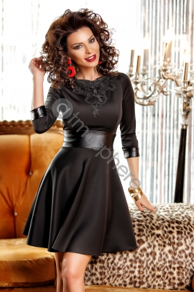 ROCHIE BABY-DOLL NEAGRA SI BRODERIE LA BUST RN 1074