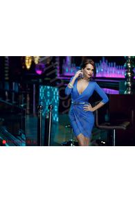 Rn 135 rochie trei sferturi lycra albastra