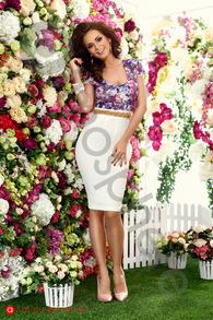 Rn 163 rochie trei sferturi fagure si imprimeu floral