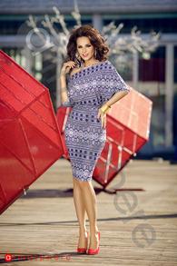 R 147 rochie scurta lycra imprimeu albastru