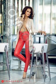 P 560 pantaloni piele ecologica cu talie inalta rosii