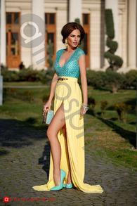 Rn 171 rochie lunga dantela turquoise si tul galben