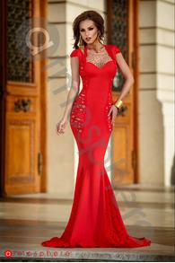 Rn 175 rochie lunga lycra rosie si dantela