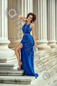 Rn 179 rochie lunga lycra albastra cu colier gat