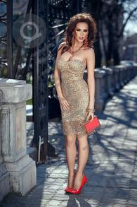 Rn 184 rochie trei sferturi dantela aurie cu paiete