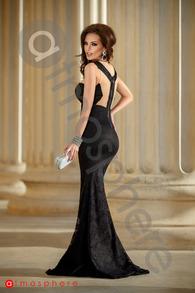 Rn 187 rochie lunga dantela neagra cu tul nude si cristale