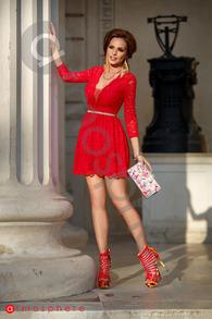 Rn 156r rochie scurta dantela rosie