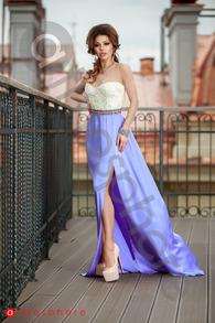 Rn 191 rochie lunga dantela ivoie si lila