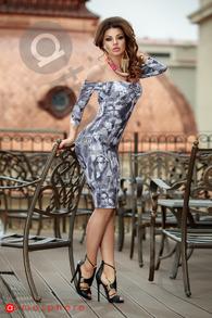 Rn 178 rochie trei sferturi bumbac imprimeu gri