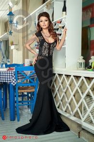 Rn 181 rochie lunga lycra si dantela neagra bust