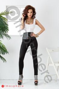 P 564 pantaloni lycra cu talie din piele ecologica