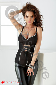 Cr 863 corset din lycra cu dantela si strasuri