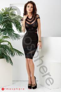 Rn 200 rochie trei sferturi lycra cu insertii de tul si dantela