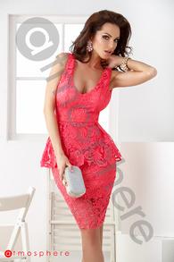 Rn 185 rochie trei sferturi dantela roz cu volan in talie