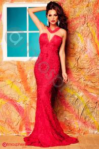 Rochie lunga dantela rosie cu tul nude si cristale Rn 204